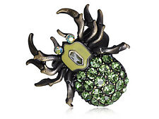 Vintage Bronze Brass Tone Green Crystal Spider Insect Bug Rhinestone Ring