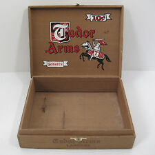 Wooden Cigar Box Lancers Tudor Arms 10¢  Dovetaile Corners Vintage Collectible
