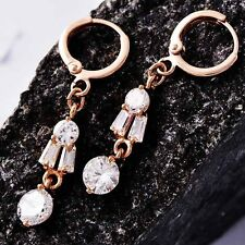 Womens Clear crystal cute small Dangle Earrings ROSE Gold Filled free shipping
