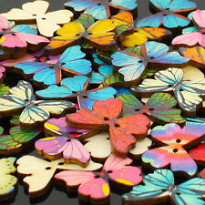 50pcs 2 Holes Mixed Butterfly Wooden Buttons Sewing Scrapbooking DIY Ornate