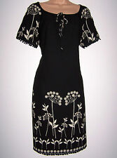 NWT LAURA ASHLEY CREPE BLACK CREAM FLORAL DRESS TUNIC STYLE SIDE POCKETS 12 UK