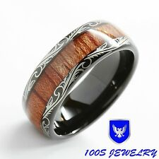 Wood Inlay Black Tungsten Carbide Ring Comfort Fit Wedding Band Bridal Size 6-16