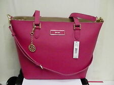 DKNY Donna Karan Saffiano Leather Tote Shoulder Bag Magenta for shopping
