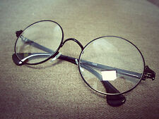Harry PotterBlack Round Oversized Metal Frame Clear Lens Fashion Glasses 60s 80s