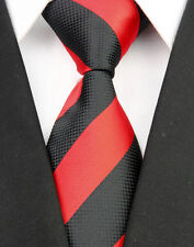 SP0057 Coral Black Stripe New Silk Classic Elegant Woven Man's Tie Necktie
