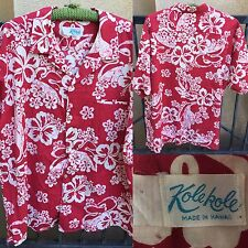 Vintage Kolekole Hawaiian Shirt Made In Hawaii Red White Floral