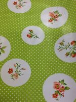 Roses And Spots In Green Oil Cloth Wipe Clean Pvc Fabric By 1/2 Metre-38