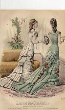 """19/ GRAVURE DE MODE """"  JOURNAL des DEMOISELLES """" 1879 SUPERBES COULEURS !"""