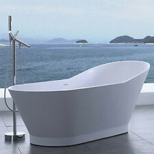 Free Standing Solid Surface Stone Modern Soaking Bathtub 66 x 30 inch - SW-118
