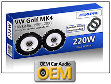 VW Golf MK4 Front Door speakers Alpine car speaker kit with Adapter Pods 220W