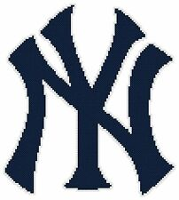 Counted Cross Stitch Pattern, New York Yankees Logo - Free US Shipping