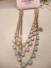"NWT Juicy Couture Necklace Triple Chain Pastel 18"" N42"