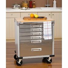 Kitchen Carts and Islands Table Work Station on Wheels Stainless Steel Outdoor