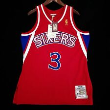 100% Authentic Mitchell & Ness Allen Iverson Sixers Red NBA Jersey Size 44 L