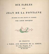 Dix Fables de Jean de La Fontaine,bois gravés par Louis Bouquet,La Sirène,1921