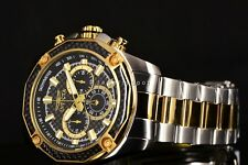New Invicta Men's Aviator Black Carbon Fiber Chrono 2Tone Gold SS Bracelet Watch