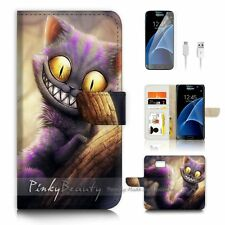 Samsung Galaxy S7 Flip Wallet Case Cover P0327 Cheshire Cat