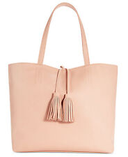 Macy's Large Tote Purse Bag faux leather Blush light Pink Tassels Travel shopper