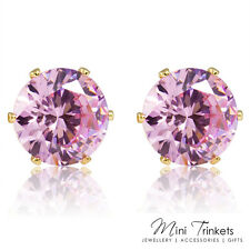 18K GOLD/PLATINUM PLATED SOLITAIRE CUBIC ZIRCONIA CZ CRYSTAL ROUND STUD EARRINGS