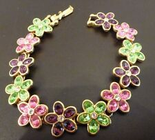 """Kenneth Jay Lane KJL 8"""" Bracelet Pink Purple Green Flower in Gold Tone Metal"""