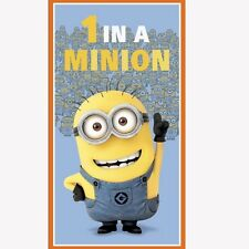 "DESPICABLE ME  DUSTY BLUE  MINIONS  23"" x 44"" COTTON FABRIC PANEL  VIP CRANSTON"