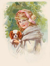 CAVALIER KING CHARLES SPANIEL CHARMING DOG GREETINGS NOTE CARD YOUND GIRL & DOG