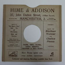 "78rpm 10"" card gramophone record sleeve HIME & ADDISON , MANCHESTER"
