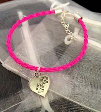 Neon Pink Charm Bracelet Heart Charm Paw Prints Dog Cat