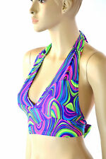 MEDIUM Neon UV Blacklight Glow Worm Sleeveless Rave Halter Top Ready To Ship!