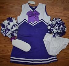 CHEERLEADER COSTUME OUTFIT HALLOWEEN PURPLE ADULT LADIES 4-6 POM POMS CHEER BOW