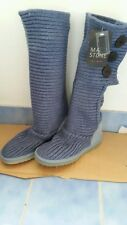 BNWT Mark Stone whistler knit GENUINE SHEEPSKIN cardy ugg boots Ladies 5-6 blue