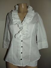 Womens Medium WHITE V-NECK pleated ruffle SHIRT 3/4-sleeves TOP blouse M cotton