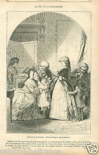 Fête de la Grand'Maman Costume robe Philibert-Louis Debucourt GRAVURE PRINT 1870