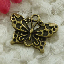 Free Ship 90 pieces bronze plated butterfly charms 25x19mm #1243
