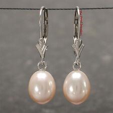 14k White Gold Leverback Dangle 7-8mm Tear Drop Pink Cultured Pearl Earrings TPJ