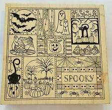 Wood Backed Rubber Stamp Huge Halloween Background Cat Bat Ghost Pumpkin Spider