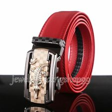Men's Automatic Buckle Red Fashion Genuine Leather Waist Strap Belt Waistband