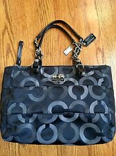 "COACH Madison Signature E/W Tote #15575 Op Art Fabric - Black/Grey 13"" L • EUC!"
