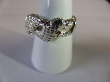 sterling silver double headed snake ring SET WITH RUBY EYES