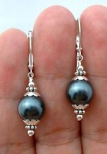 10mm Tahitian Black Peacock Sea Shell Pearl Silver Hook Earring