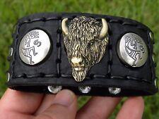 Buffalo Bison leather Navajo cuff Bracelet sterling silver Brass Buffalo head