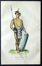 1845 Dally Antique Print of a Warrior of The Sulawesi Islands of Indonesia