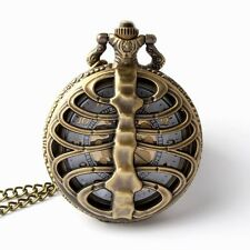 Retro bronze pocket watch necklace chain pendant quartz