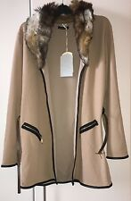 Womens Faux Fur Belted Full Sleeve Coat Blazer Cape Cardigan - Colour Beige