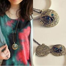 Women Vintage Long Chain Owl Pattern Photo Locket Pendant Sweater Necklace New