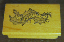 Leaves Rubber Stamp Holly Leaf Wood Mounted 1981 Rare Funny Business DIY Crafts