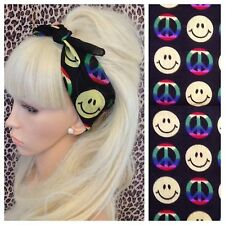 BLACK RAINBOW CND PEACE SIGN SMILEY FACE PRINT BANDANA HEADBAND HAIR NECK SCARF