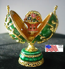 "Inspired Faberge Egg  Basket of Flowers Green  3"" trinket box Easter Mother Love"
