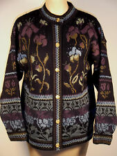 Cherry Lewis England heavy weight wool cardigan sweater, M, navy/multi floral