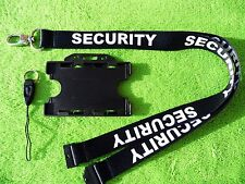 Security Black/White Neck Lanyard with Strong Lobster Clip, ID Card/Badge Holder